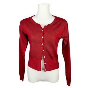 Topshop Red Short Button Front Cardigan Sweater